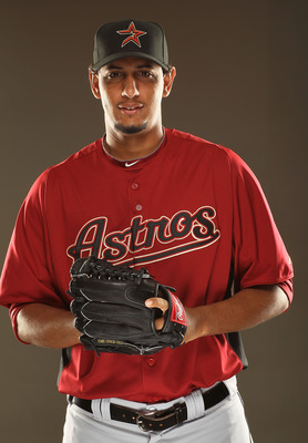 KISSIMMEE, FL - FEBRUARY 24:  Aneury Rodriguez #62 of the Houston Astros poses for a portrait during Spring Training photo Day at Osceola County Stadium  on February 24, 2011 in Kissimmee, Florida.  (Photo by Al Bello/Getty Images)