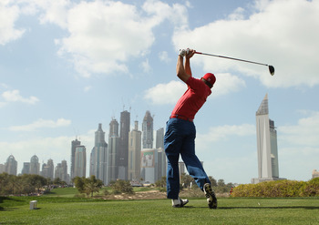 DUBAI, UNITED ARAB EMIRATES - FEBRUARY 13:  Sergio Garcia of Spain in action during the final round for the 2011 Omega Dubai desert Classic held on the Majilis Course at the Emirates Golf Club on February 13, 2011 in Dubai, United Arab Emirates.  (Photo b