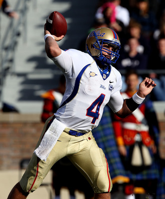 SOUTH BEND, IN - OCTOBER 30: G.J. Kinne #4 of the Tulsa Golden Hurricane throws a pass against the Notre Dame Fighting Irish rushes at Notre Dame Stadium on October 30, 2010 in South Bend, Indiana. Tulsa defeated Notre Dame 28-27. (Photo by Jonathan Danie