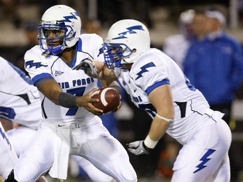 LAS VEGAS - NOVEMBER 18:  Quarterback Tim Jefferson Jr. #7 of the Air Force Falcons hands the ball off to Ryan Southworth #40 during a game against the UNLV Rebels at Sam Boyd Stadium November 18, 2010 in Las Vegas, Nevada. Air Force won 35-20.  (Photo by
