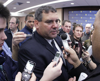 ANN ARBOR, MI - JANUARY 12:  New University of Michigan head football coach Brady Hoke speaks to reporters after his introductory press confrence at the Junge Family Champions Center on January 12, 2011 in Ann Arbor, Michigan.  (Photo by Gregory Shamus/Ge