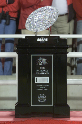 3 Jan 2002:  The Sears National Championship trophy sits on the sidelines before the start of the Rose Bowl National Championship game between Nebraska and Miami at the Rose Bowl in Pasadena, California.  Miami won the game 37-14, winning the BCS and the