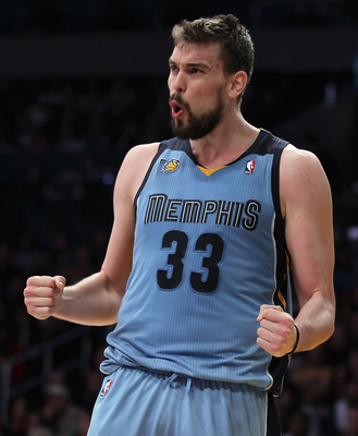 LOS ANGELES, CA - JANUARY 02:  Marc Gasol #33 of the Memphis Grizzlies reacts after committing a foul against the Los Angeles Lakers during the second half at Staples Center on January 2, 2011 in Los Angeles, California. The Grizzlies defeated the Lakers