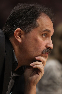 CHICAGO, IL - JANUARY 28: Head coach Stan Van Gundy of the Orlando Magic watches as his team takes on the Chicago Bulls at the United Center on January 28, 2011 in Chicago, Illinois. NOTE TO USER: User expressly acknowledges and agrees that, by downloadin