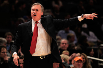 NEW YORK, NY - FEBRUARY 16:  Head Coach Mike D'Antoni of the New York Knicks gestures during the game against the Atlanta Hawks at Madison Square Garden on February 16, 2011 in New York City. NOTE TO USER: User expressly acknowledges and agrees that, by d