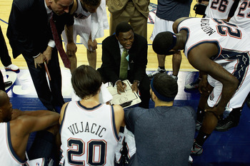 LONDON, ENGLAND - MARCH 04:  Head Coach, Avery Johnson speaks with his players during the NBA match between New Jersey Nets and the Toronto Raptors at the O2 Arena on March 4, 2011 in London, England. NOTE TO USER: User expressly acknowledges and agrees t