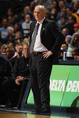 DENVER, CO - MARCH 12:  Head coach George Karl of the Denver Nuggets leads his team against the Detroit Pistons at the Pepsi Center on March 12, 2011 in Denver, Colorado. The Nuggets defeated the Pistons 131-101.  NOTE TO USER: User expressly acknowledges