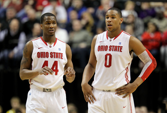 INDIANAPOLIS, IN - MARCH 12:  William Buford #44 and Jared Sullinger #0 of the Ohio State Buckeyes look on against the Michigan Wolverines during the semifinals of the 2011 Big Ten Men's Basketball Tournament at Conseco Fieldhouse on March 12, 2011 in Ind