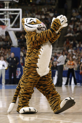 DENVER - MARCH 18:  The Princeton Tigers mascot entertains the crowd during a first round game in the NCAA Men's Basketball Tournament against the Texas Longhorns at Pepsi Center on March 18, 2004 in Denver, Colorado. Texas defeated Princeton 66-49.  (Pho