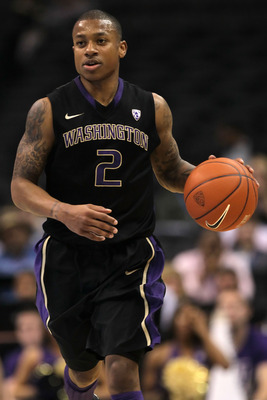 LOS ANGELES, CA - MARCH 12:  Isaiah Thomas #2 of the Washington Huskies moves the ball while taking on the Arizona Wildcats in the championship game of the 2011 Pacific Life Pac-10 Men's Basketball Tournament at Staples Center on March 12, 2011 in Los Ang