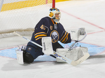 BUFFALO, NY - NOVEMBER 05:  Patrick Lalime #40 of the Buffalo Sabres plays goal against the Montreal Canadiens on November 5, 2010 in Buffalo, New York. Montreal won 3-2.  (Photo by Rick Stewart/Getty Images)