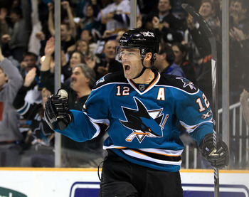 SAN JOSE, CA - NOVEMBER 24:  Patrick Marleau #12 of the San Jose Sharks celebrates after he scored a goal against the Chicago Blackhawks at HP Pavilion on November 24, 2010 in San Jose, California.  (Photo by Ezra Shaw/Getty Images)