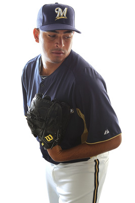 MARYVALE, AZ - FEBRUARY 24:  Amaury Rivas #47 of the Milwaukee Brewers poses for a portrait during Spring Training Media Day on February 24, 2011 at Maryvale Stadium in Maryvale, Arizona.  (Photo by Jonathan Ferrey/Getty Images)