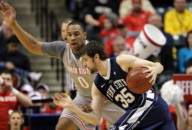 INDIANAPOLIS, IN - MARCH 13:  Billy Oliver #35 of the Penn State Nittany Lions drives against Jared Sullinger #0 of the Ohio State Buckeyes during the championship game of the 2011 Big Ten Men's Basketball Tournament at Conseco Fieldhouse on March 13, 201