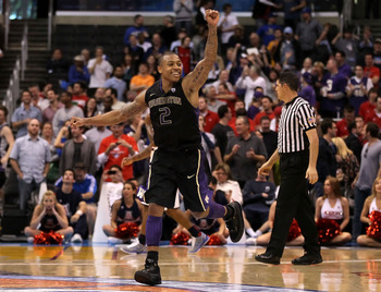 LOS ANGELES, CA - MARCH 12:  Isaiah Thomas #2 of the Washington Huskies reacts as the Arizona Wildcats miss a buzzer shot and the game goes into overtime in the championship game of the 2011 Pacific Life Pac-10 Men's Basketball Tournament at Staples Cente