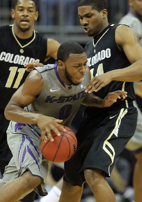 KANSAS CITY, MO - MARCH 10:  Jacob Pullen #0 of the Kansas State Wildcats drives with the ball against the Colorado Buffaloes during their quarterfinal game in the 2011 Phillips 66 Big 12 Men's Basketball Tournament at Sprint Center on March 10, 2011 in K