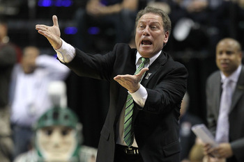 INDIANAPOLIS, IN - MARCH 11:  Head coach Tom Izzo of the Michigan State Spartans reacts against the Purdue Boilermakers during the quarterfinals of the 2011 Big Ten Men's Basketball Tournament at Conseco Fieldhouse on March 11, 2011 in Indianapolis, India