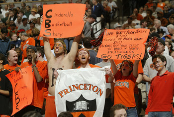 DENVER - MARCH 18:  Fans of the Princeton Tigers cheer during a timeout against the Texas Longhorns during their first round game of the NCAA Division I Men's Basketball Tournament March 18, 2004 at the Pepsi Center in Denver, Colorado.  (Photo by Brian B