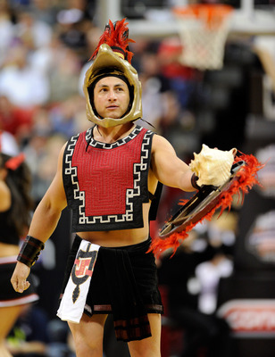 LAS VEGAS, NV - MARCH 12:  San Diego State Aztecs mascot Aztec Warrior appears on the court during the championship game of the Conoco Mountain West Conference Basketball tournament against the Brigham Young University Cougars at the Thomas & Mack Center