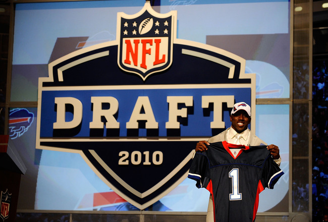 NEW YORK - APRIL 22:  C.J. Spiller from the Clemson Tigers holds up a Buffalo Bills jersey after he was selected #9 overall by the Bills during the first round of the 2010 NFL Draft at Radio City Music Hall on April 22, 2010 in New York City.  (Photo by J