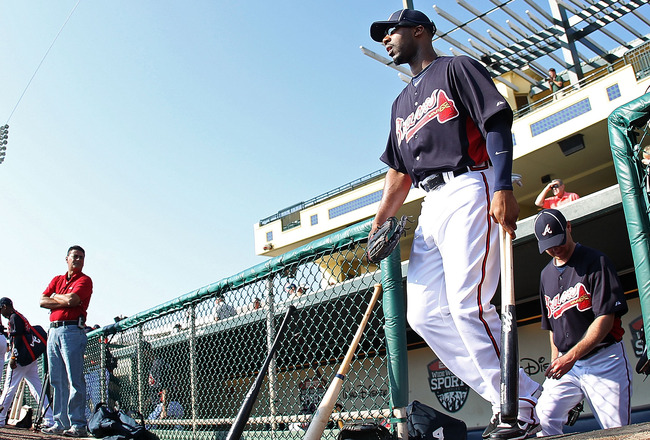 LAKE BUENA VISTA, FL - FEBRUARY 21:  Jason Heyward #22 of the Atlanta Braves walks out to practice during a spring training workout at Champion Stadium on February 21, 2011 in Lake Buena Vista, Florida.  (Photo by Mike Ehrmann/Getty Images)