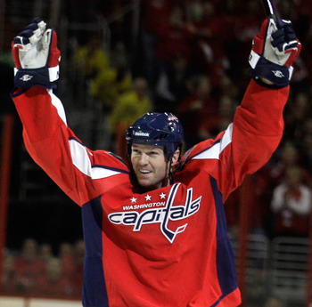 WASHINGTON, DC - MARCH 13: Jason Arnott #44 of the Washington Capitals celebrates his goal against the Chicago Blackhawks  at the Verizon Center on March 13, 2011 in Washington, DC.  (Photo by Rob Carr/Getty Images)