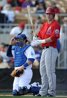 PHOENIX, AZ - FEBRUARY 27:  Mike Trout #90 of the Los Angeles Angels of Anaheim at bat against the Los Angeles Dodgers during spring training at Camelback Ranch on February 27, 2011 in Phoenix, Arizona.  (Photo by Harry How/Getty Images)