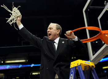 PHOENIX - MARCH 29:  Head coach Ben Howland of the UCLA Bruins celebrates after cutting the net down following his team win over the Xavier Musketeers in the West Regional Final on March 29, 2008 at the U.S. Airways Center in Phoenix, Arizona.  The Bruins