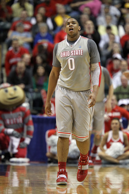 INDIANAPOLIS, IN - MARCH 13:  Jared Sullinger #0 of the Ohio State Buckeyes walks up court against the Penn State Nittany Lions during the championship game of the 2011 Big Ten Men's Basketball Tournament at Conseco Fieldhouse on March 13, 2011 in Indiana