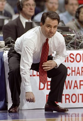 13 Mar 1998:  Coach Fran Fraschilla of the St. Johns Red Storm looks on during a game against the Detroit Titans in the first round of the NCAA Tournament at the United Center in Chicago, Illinois.  Detroit defeated St. Johns 66-64. Mandatory Credit: Jona
