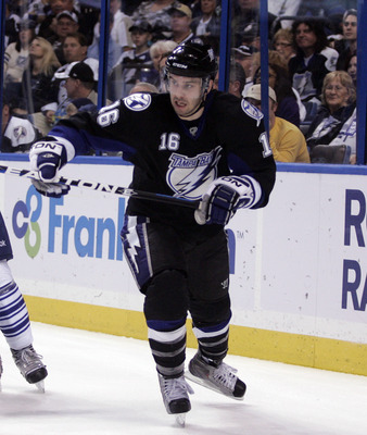 TAMPA, FL - JANUARY 25: Teddy Purcell #16 of the Tampa Bay Lightning skates against the Toronto Maple Leafs at St. Pete Times Forum on January 25, 2011 in Tampa, Florida. The Lightning defeated the Leafs 2-0. (Photo by Justin K. Aller/Getty Images)