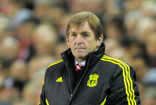 LIVERPOOL, ENGLAND - MARCH 17:  Liverpool manager Kenny Dalglish looks thoughtful during the UEFA Europa League Round of 16 second leg match between Liverpool and SC Braga at Anfield on March 17, 2011 in Liverpool, England.  (Photo by Michael Regan/Getty