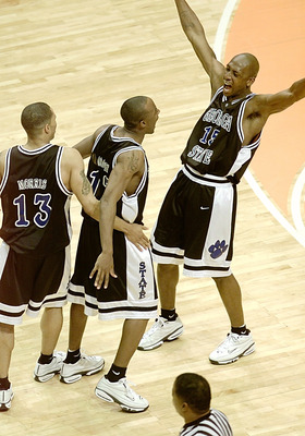 15 Mar 2001:  Sherard Long #15 of the Georgia State Panthers celebrates his go-ahead shot with Kevin Morris #13 and Darryl Cooper #12 in a 50-49 upset of the Wisconsin Badgers during the first round of the NCAA Tournament at the Boise State University Pav
