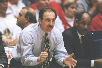 30 Dec 1996:   Coach Fran Dunphy of the Pennsylvania Quakers gives instructions to his players during the Fiesta Bowl Classic against the Arizona Wildcats at the McKale Center in Tuscon, Arizona.  Arizona won the game 93 - 51. Mandatory Credit: Doug Pensi