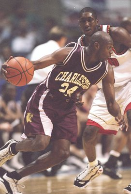 13 Mar 1997:  Guard Anthony Johnson of the Charleston Cougars drives to the basket during a playoff game against the Maryland Terrapins at the Pyramid in Memphis, Tennessee.  Charleston won the game 75 - 66. Mandatory Credit: Stephen Dunn  /Allsport