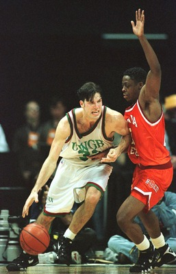 14 Mar 1996:  Jeff Nordgaard #33 of Wisconsin-Green Bay tries to drive around Shawn Good #21 of Virginia Tech in the second half of the Midwest Region NCAA Men''s Basketball Tournament first round game played at Renunion Arena in Dallas, Texas. Virginia T