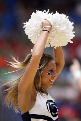 TUCSON, AZ - MARCH 17:  A Penn State Nittany Lions cheerleader performs during their game against the Temple Owls the second round of the 2011 NCAA men's basketball tournament at McKale Center on March 17, 2011 in Tucson, Arizona.  (Photo by Christian Pet