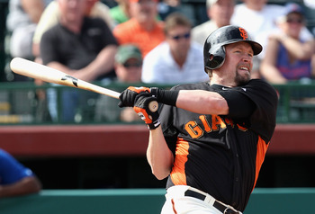 SCOTTSDALE, AZ - MARCH 01:  Aubrey Huff #17 of the San Francisco Giants bats against the Chicago Cubs during the spring training game at Scottsdale Stadium on March 1, 2011 in Scottsdale, Arizona.  (Photo by Christian Petersen/Getty Images)