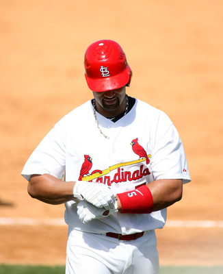 JUPITER, FL - FEBRUARY 28:  Albert Pujols #5 of the St. Louis Cardinals bats against the Florida Marlins at Roger Dean Stadium on February 28, 2011 in Jupiter, Florida.  (Photo by Marc Serota/Getty Images)