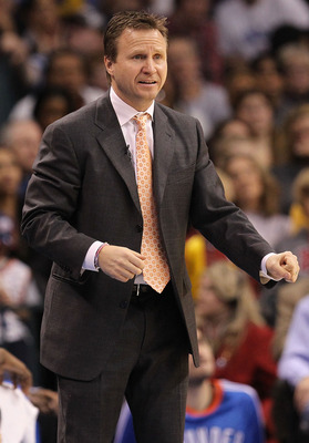 OKLAHOMA CITY, OK - JANUARY 30:  Head coach Scott Brooks of the Oklahoma City Thunder at Ford Center on January 30, 2011 in Oklahoma City, Oklahoma.  NOTE TO USER: User expressly acknowledges and agrees that, by downloading and or using this photograph, U