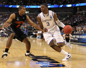 TAMPA, FL - MARCH 17:  Terrence Jones #3 of the Kentucky Wildcats drives against Kareem Maddox #2 of the Princeton Tigers during the second round of the 2011 NCAA men's basketball tournament at St. Pete Times Forum on March 17, 2011 in Tampa, Florida.  (P