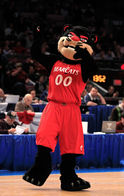 NEW YORK, NY - MARCH 10: The Cincinnati Bearcats mascot gestures while on the court during the game against the Notre Dame Fighting Irish during the quarterfinals of the 2011 Big East Men's Basketball Tournament presented by American Eagle Outfitters  at
