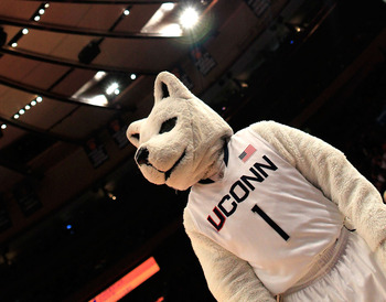NEW YORK, NY - MARCH 11: The Connecticut Huskies mascot looks on from the sideline during the game against the Syracuse Orange during the semifinals of the 2011 Big East Men's Basketball Tournament presented by American Eagle Outfitters at Madison Square