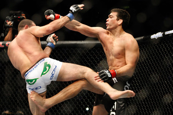 MONTREAL- MAY 8: Lyoto Machida (R) fights Mauricio 'Shogun' Rua in their light heavyweight bout at UFC 113 at Bell Centre on May 8, 2010 in Montreal, Quebec, Canada.  (Photo by Richard Wolowicz/Getty Images)