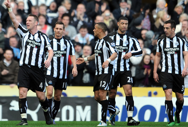NEWCASTLE UPON TYNE, ENGLAND - FEBRUARY 26: Kevin Nolan of Newcastle United celebrates scoring the opening goal during the Barclays Premier League match between Newcastle United and Bolton Wanderers at St James' Park on February 26, 2011 in Newcastle upon