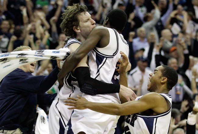 WASHINGTON - MARCH 17:  The Butler Bulldogs celebrate defeating the Old Dominion Monarchs 60-58 during the second round of the 2011 NCAA men's basketball tournament at the Verizon Center on March 17, 2011 in Washington, DC.  (Photo by Rob Carr/Getty Image