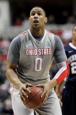 INDIANAPOLIS, IN - MARCH 13:  Jared Sullinger #0 of the Ohio State Buckeyes gets set to attempt a free throw against the Penn State Nittany Lions during the championship game of the 2011 Big Ten Men's Basketball Tournament at Conseco Fieldhouse on March 1