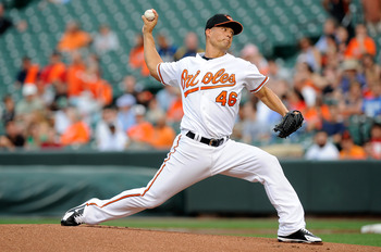BALTIMORE - AUGUST 03:  Jeremy Guthrie #46 of the Baltimore Orioles pitches against the Los Angeles Angels of Anaheim at Camden Yards on August 3, 2010 in Baltimore, Maryland.  (Photo by Greg Fiume/Getty Images)