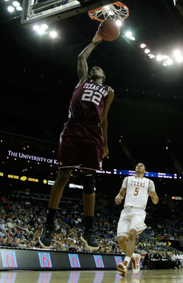 KANSAS CITY, MO - MARCH 11:  Khris Middleton #22 of the Texas A&M Aggies dunks the ball against the Texas Longhorns during their semifinal game in the 2011 Phillips 66 Big 12 Men's Basketball Tournament at Sprint Center on March 11, 2011 in Kansas City, M