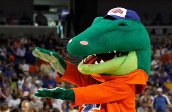 TAMPA, FL - MARCH 19:  Albert, the mascot for the Florida Gators, performs against the UCLA Bruins during the third round of the 2011 NCAA men's basketball tournament at St. Pete Times Forum on March 19, 2011 in Tampa, Florida. Florida won 73-65. (Photo b